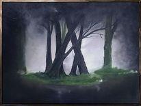 Nebel, Dunkel, Malerei, Baum