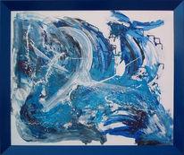 Abstrakt, Malerei, Weiß, Blau
