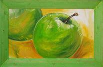 Stillleben, Apfel, Malerei, Grün