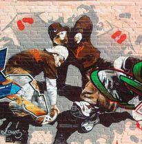 Tanz, Wand, Malerei, Mauer