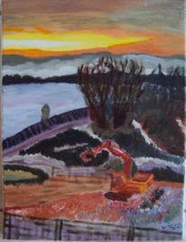 Baustelle, Sonnenaufgang, Wolf, Malerei