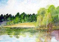 Badesee, Cottbus, Uferlandschaft, Malerei