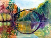 Kromlauer park, Aquarellmalerei, Rakotzbrücke, Aquarell