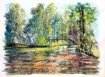 Spreewaldbrücke, Herbstlaub, Aquarell, Meine bilder