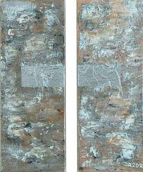 Diptychon, Abstrakt, Acrylmalerei, Chrom