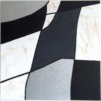 Abstrakt, Malerei, Silber, Acrylmalerei
