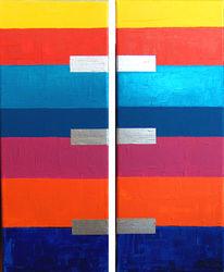 Diptochon, Abstrakt, Acrylmalerei, Chrom