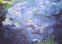 Acrylmalerei, Malerei, Wasser, Blau