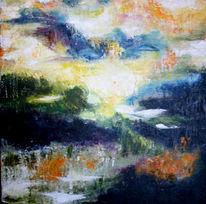 Malerei, Natur, Nebel, Tal