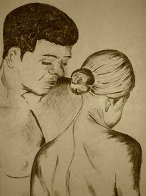 Akt, Paar, Figural, Malerei