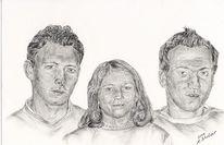 Portrait, Zeichnung, Zeichnungen, Geschwister