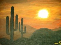 Malerei, Landschaft, Mexiko, Sonne