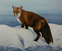 Kissen, Malerei, Schnee, Fuchs