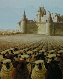 Weinberg, Schloss, Schaf, Malerei