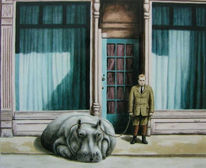 Gehweg, Flusspferd, Malerei, Mann