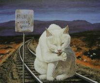 Gleis, Malerei, Katze, Tiere