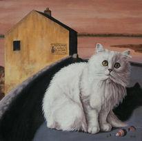 Katze, Malerei, Fischen, Tiere