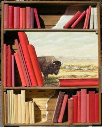 Malerei, Landschaft, Buch, Bison