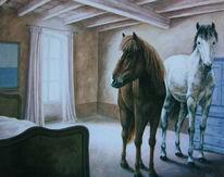 Malerei, Schlafzimmer, Pferde, Bett