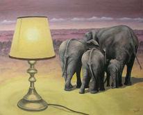 Malerei, Landschaft, Gelb, Lampe
