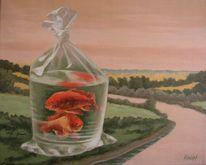 Landschaft, Skulptur, Tütchen, Fischen
