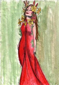 Anmut, Aquarellmalerei, Grafik, Frau