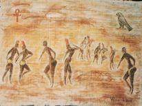 Malerei, Horusfalke, Koptisches, Anch