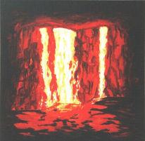 Malerei, Ausbruch, Zerstörung, Lavafall
