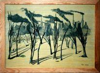 Malerei, Landschaft, Industrie, Kommerz