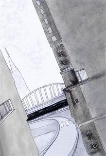 Stadt, Cyber, Grafik, Häuser
