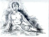 Skizze, Frau, Akt, Kohlezeichnung