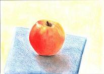 Pastellmalerei, Obst, Apfel, Malerei