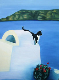 Malerei, Landschaft, Katze, Griechische