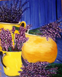 Stillleben, Krug, Malerei, Lavendel