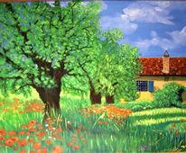 Blumen, Malerei, Landschaft, Sommer