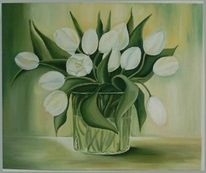 Malerei, Weiß, Ölmalerei, Tulpen