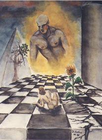 Mann, Pyramide, Sonnenblumen, Malerei