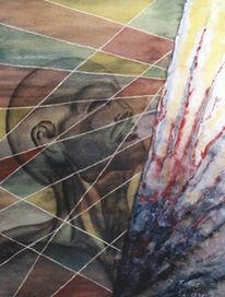 Malerei, Männerkopf, Ausbruch,