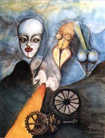 Malerei, Surreal, Maschine, Menschen