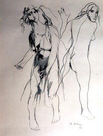 Frau, Zeichnung, Bewegung, Zeichnungen