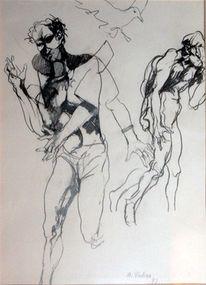 Zeichnung, Mann, Möwe, Zeichnungen