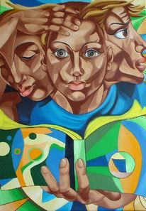 Gesicht, Buch, Wissen, Figural