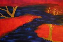 Blau, Abstrakt, Baum, Rot
