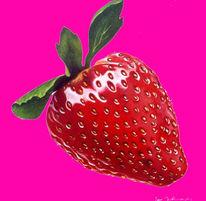 Pink, Früchte, Erdbeeren, Malerei