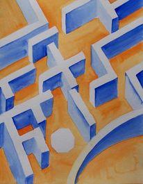Malerei, Labyrinth, Aquarellmalerei