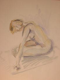 Akt sitzend 0205, Malerei, Akt, Figural
