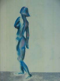 Blau, Figural, Malerei, Akt