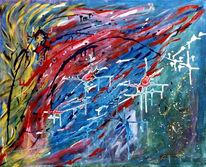 Abstrakt, Malerei, Uhr, Kurz
