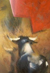 Tiere, Surreal, Stier, Malerei