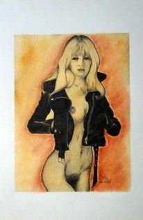 Zeichnung, Bleistiftzeichnung, Pigmente, Akt